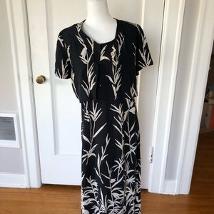 Worthington Dresses - Vintage maxi dress set navy print